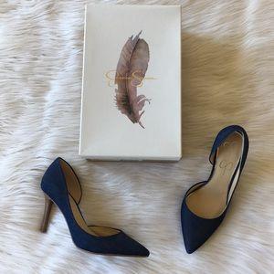 Jessica Simpson Denim Pointed High Heels